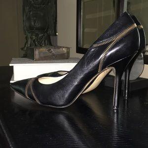 Enzo Angiolini black heels with zipper detail